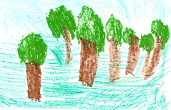 Ζωγραφιά ενός κοριτσιού 6 ετών για το πώς φαντάζεται ένα δάσος.