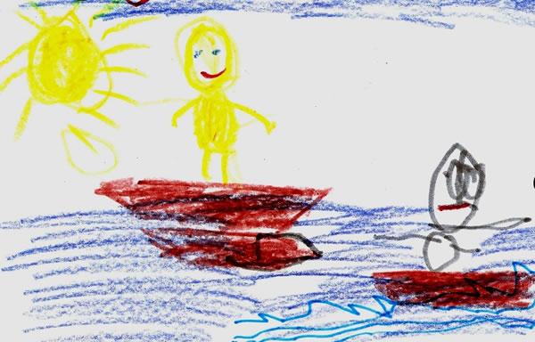 Ζωγραφιά ενός κοριτσιού 6 ετών για το πώς φαντάζεται τον Χριστό να επιλέγει τους μαθητές του.