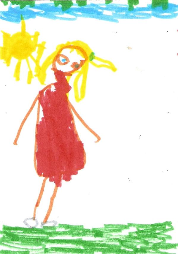 Ζωγραφιά ενός κοριτσιού 6 ετών για το πώς βλέπει τον εαυτό του.