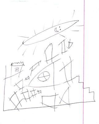 Εικόνα ζωγραφισμένη από παιδί με αυτισμό, την Αλίνα, που απεικονίζει μία πόλη και ένα ήλιο από πάνω της. Κλικ για μεγέθυνση.