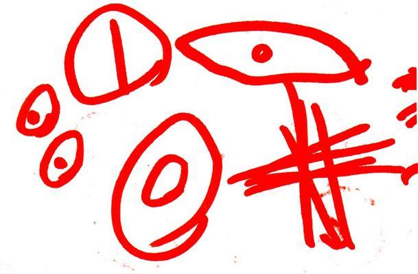 Εικόνα ζωγραφισμένη από παιδί με αυτισμό, την Αλίνα, που απεικονίζει ένα ρομπότ. Κλικ για μεγέθυνση.