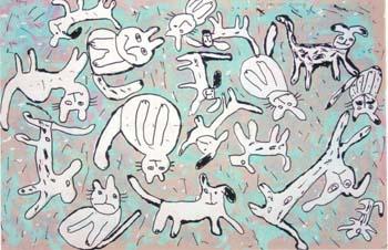 Ζωγραφιά παιδιού που απεικονίζει βροχή από σκύλους και γάτες. Κλικ για μεγέθυνση.